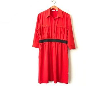 NEW YORK & COMPANY Red Button Down Shirt Dress L